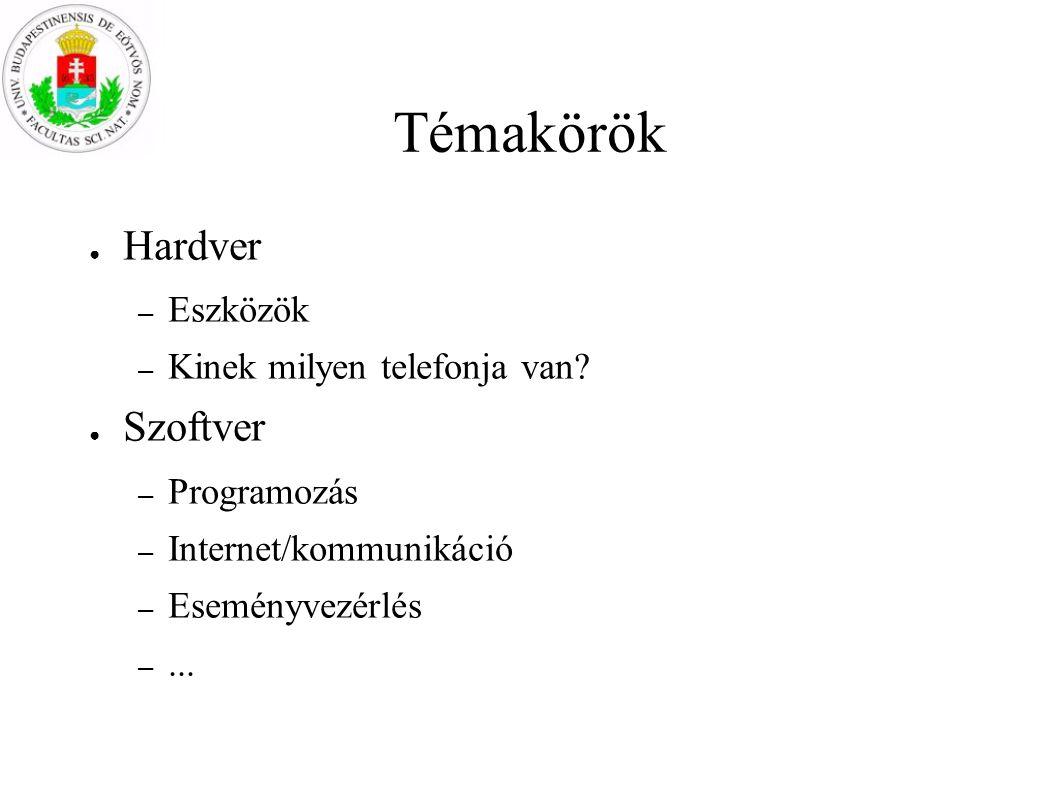 Témakörök ● Hardver – Eszközök – Kinek milyen telefonja van? ● Szoftver – Programozás – Internet/kommunikáció – Eseményvezérlés –...