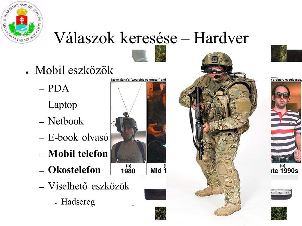 Válaszok keresése – Hardver ● Mobil eszközök – PDA – Laptop – Netbook – E-book olvasó – Mobil telefon – Okostelefon – Viselhető eszközök ● Hadsereg