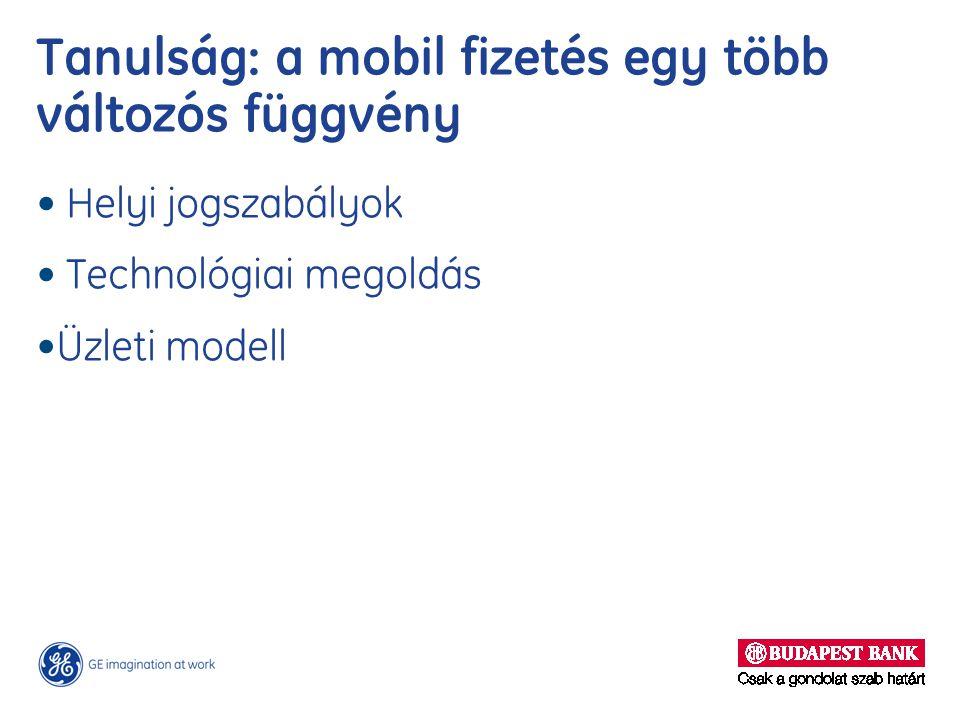 Tanulság: a mobil fizetés egy több változós függvény Helyi jogszabályok Technológiai megoldás Üzleti modell