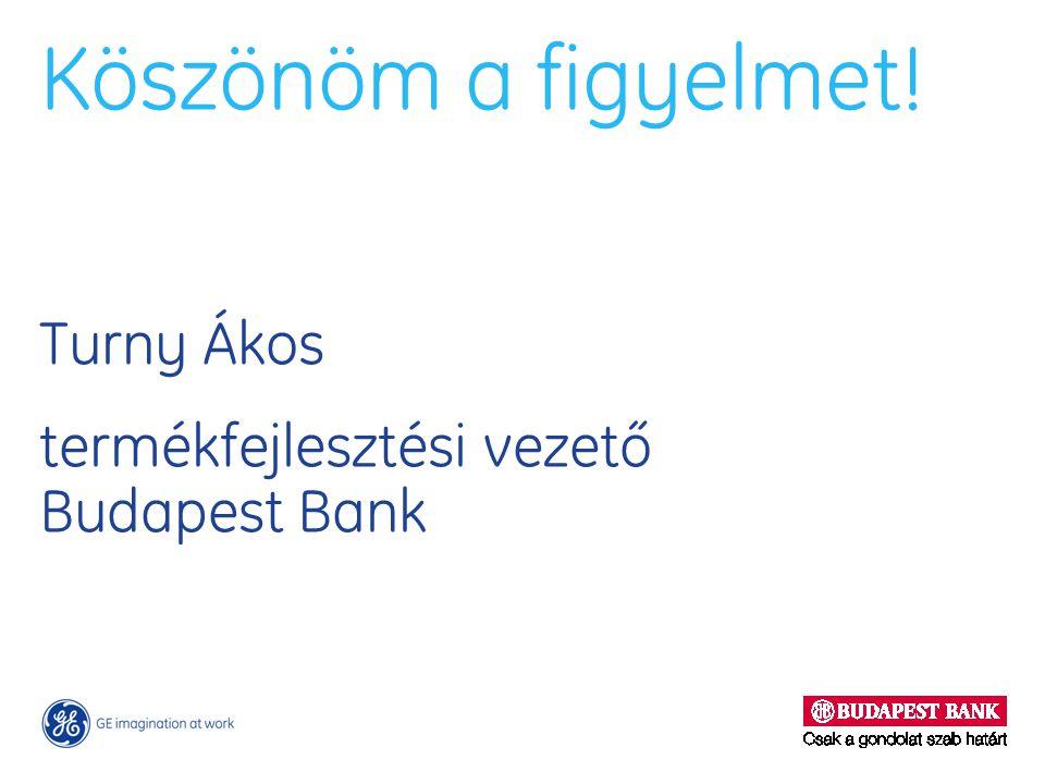 Köszönöm a figyelmet! Turny Ákos termékfejlesztési vezető Budapest Bank