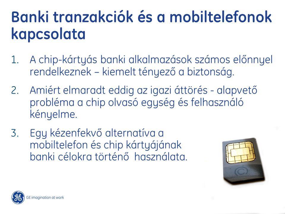 Banki tranzakciók és a mobiltelefonok kapcsolata 1. A chip-kártyás banki alkalmazások számos előnnyel rendelkeznek – kiemelt tényező a biztonság. 2. A