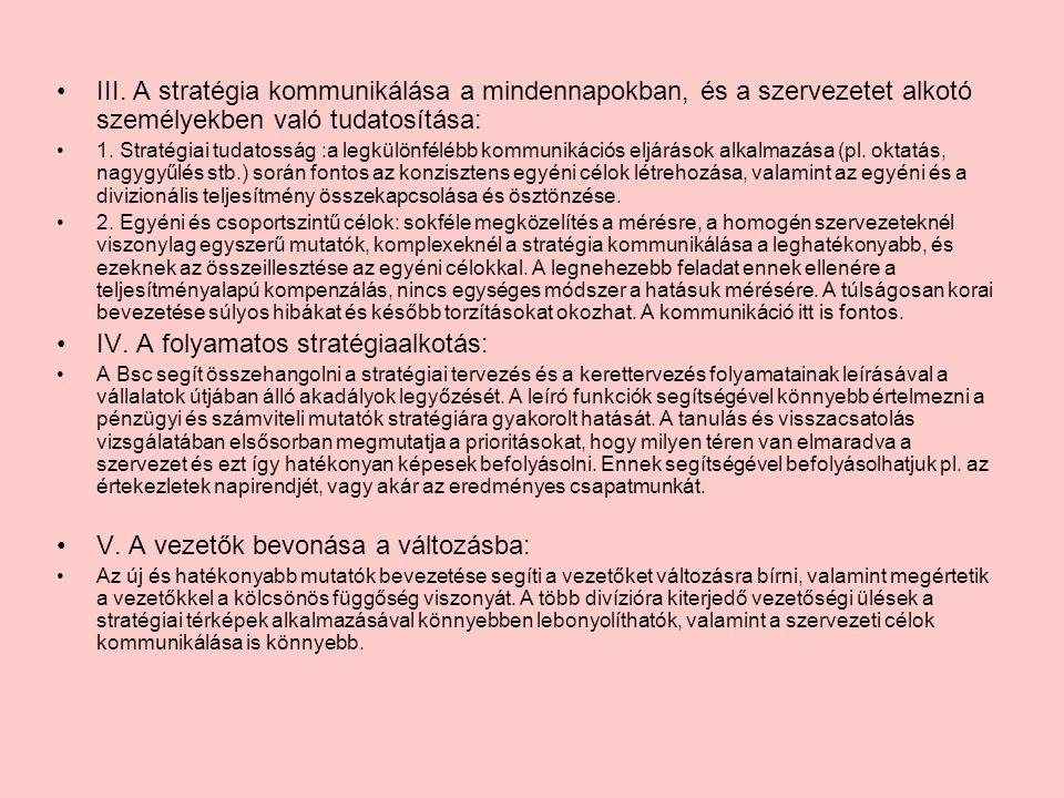 III. A stratégia kommunikálása a mindennapokban, és a szervezetet alkotó személyekben való tudatosítása: 1. Stratégiai tudatosság :a legkülönfélébb ko