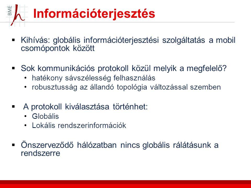 Információterjesztés  Kihívás: globális információterjesztési szolgáltatás a mobil csomópontok között  Sok kommunikációs protokoll közül melyik a megfelelő.