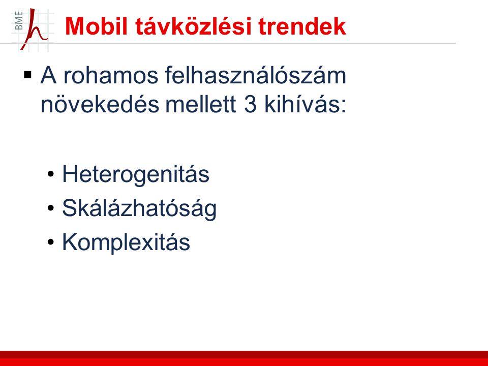 Mobil távközlési trendek  A rohamos felhasználószám növekedés mellett 3 kihívás: Heterogenitás Skálázhatóság Komplexitás