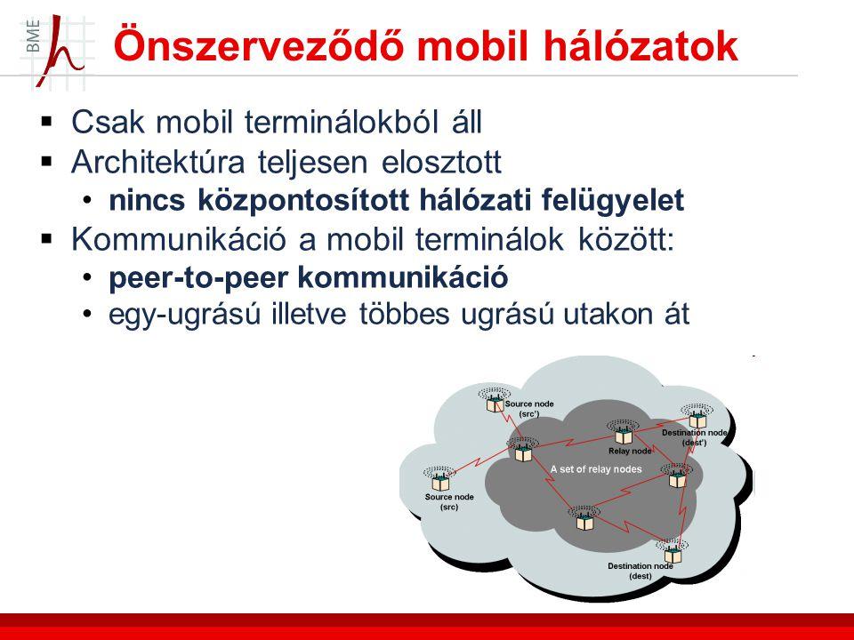 Önszerveződő mobil hálózatok  Csak mobil terminálokból áll  Architektúra teljesen elosztott nincs központosított hálózati felügyelet  Kommunikáció a mobil terminálok között: peer-to-peer kommunikáció egy-ugrású illetve többes ugrású utakon át