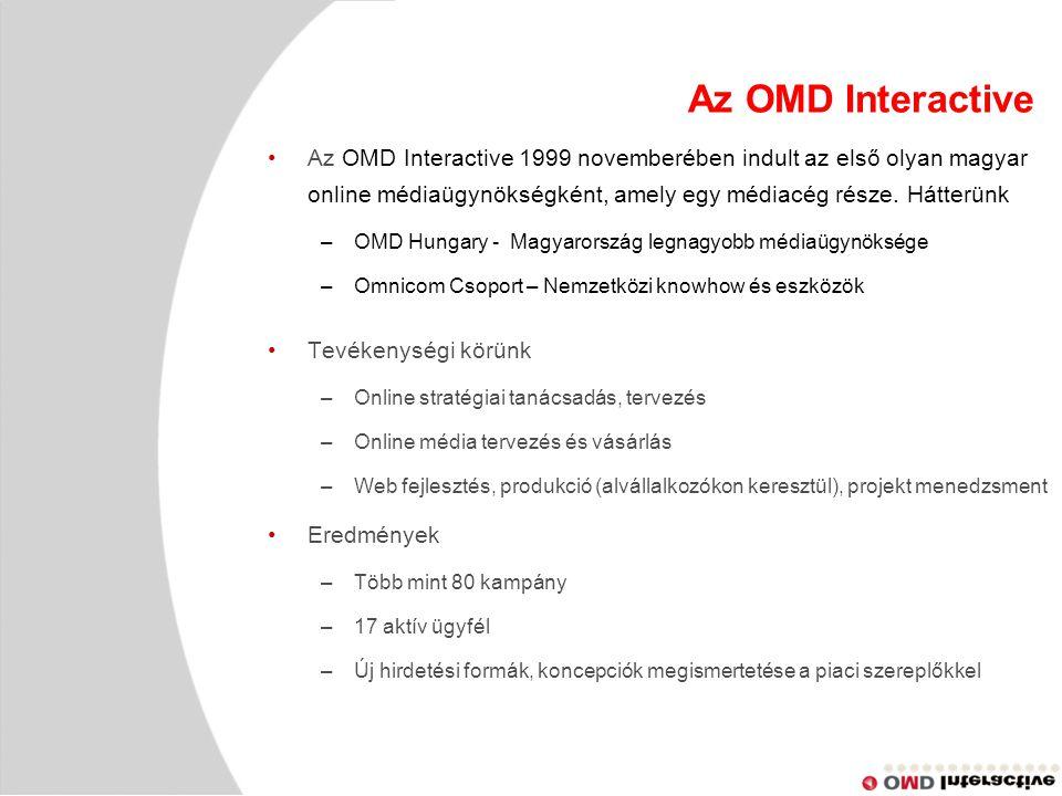 Az OMD Interactive Az OMD Interactive 1999 novemberében indult az első olyan magyar online médiaügynökségként, amely egy médiacég része.