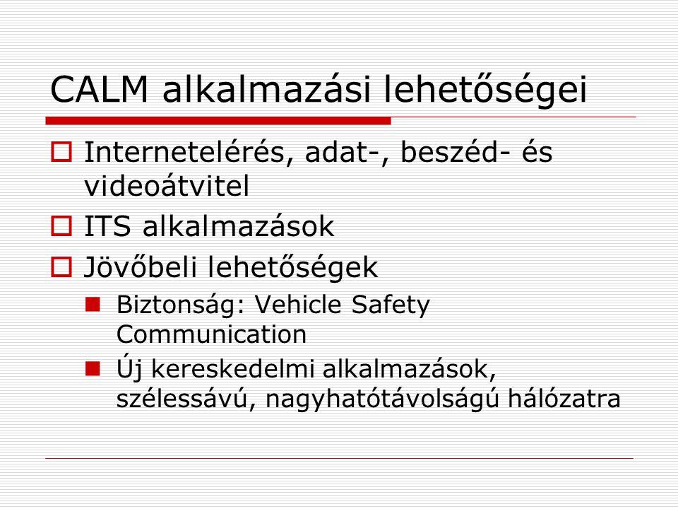 CALM alkalmazási lehetőségei  Internetelérés, adat-, beszéd- és videoátvitel  ITS alkalmazások  Jövőbeli lehetőségek Biztonság: Vehicle Safety Communication Új kereskedelmi alkalmazások, szélessávú, nagyhatótávolságú hálózatra