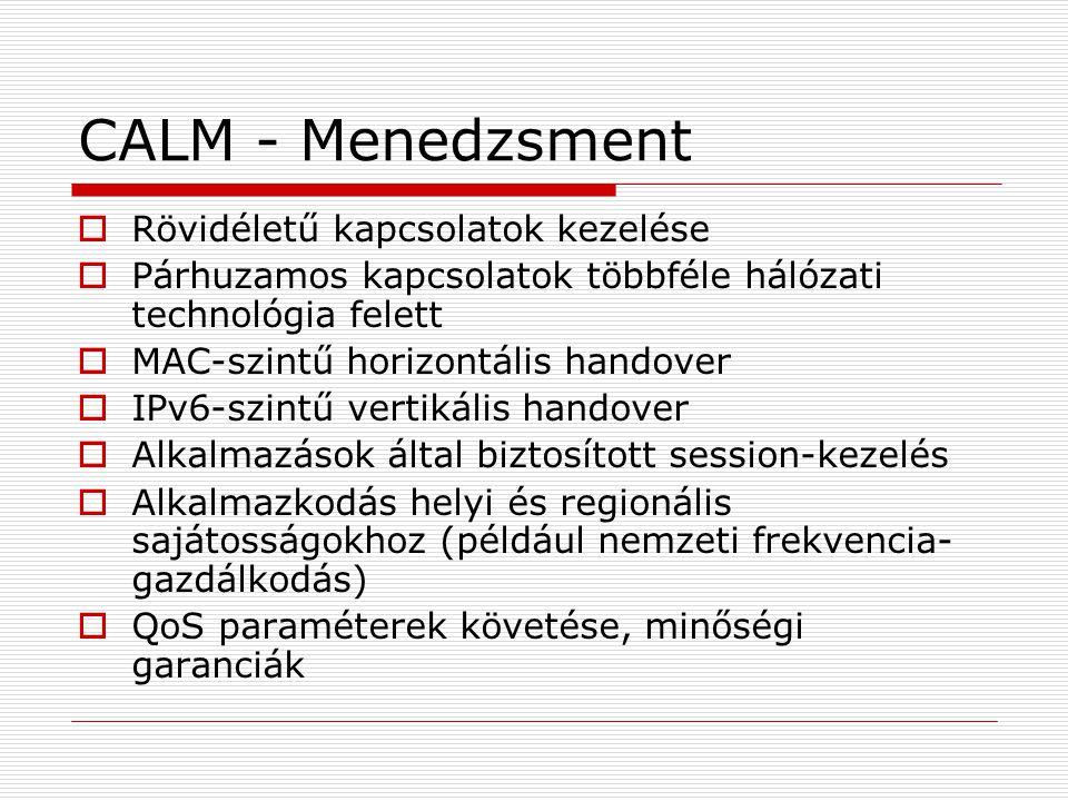 CALM - Menedzsment  Rövidéletű kapcsolatok kezelése  Párhuzamos kapcsolatok többféle hálózati technológia felett  MAC-szintű horizontális handover  IPv6-szintű vertikális handover  Alkalmazások által biztosított session-kezelés  Alkalmazkodás helyi és regionális sajátosságokhoz (például nemzeti frekvencia- gazdálkodás)  QoS paraméterek követése, minőségi garanciák