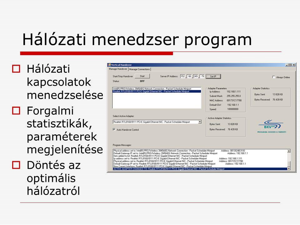 Hálózati menedzser program  Hálózati kapcsolatok menedzselése  Forgalmi statisztikák, paraméterek megjelenítése  Döntés az optimális hálózatról