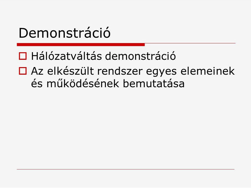 Demonstráció  Hálózatváltás demonstráció  Az elkészült rendszer egyes elemeinek és működésének bemutatása