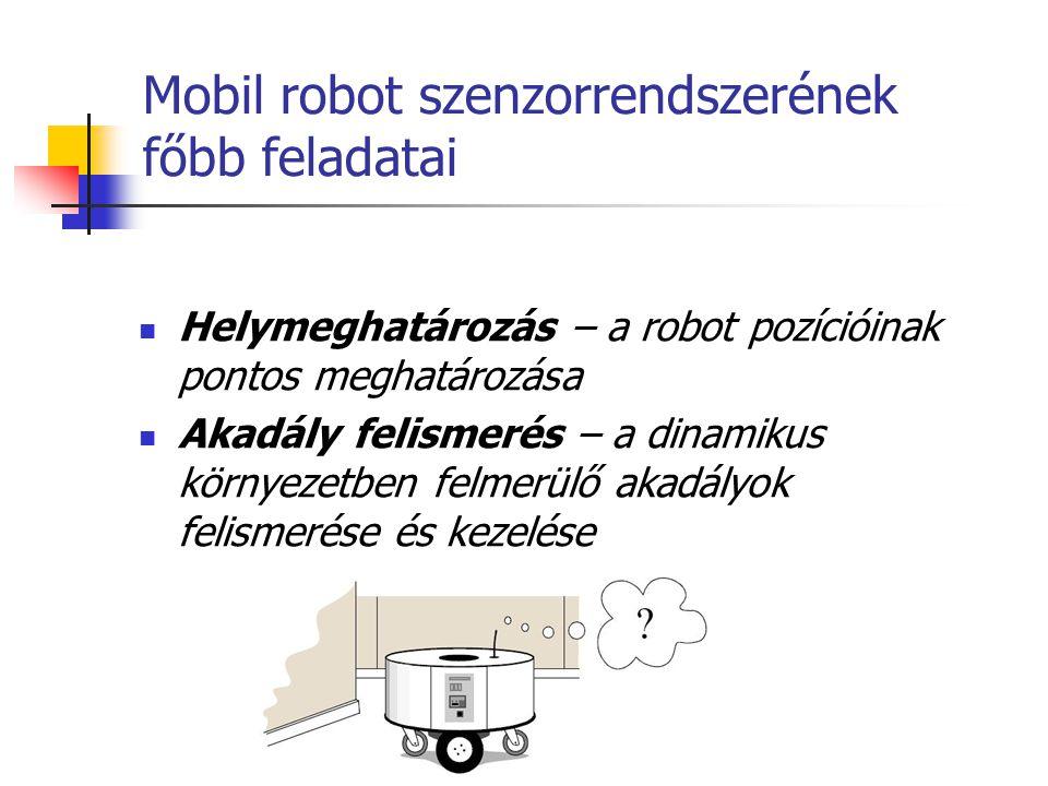 Mobil robot szenzorrendszerének főbb feladatai Helymeghatározás – a robot pozícióinak pontos meghatározása Akadály felismerés – a dinamikus környezetb