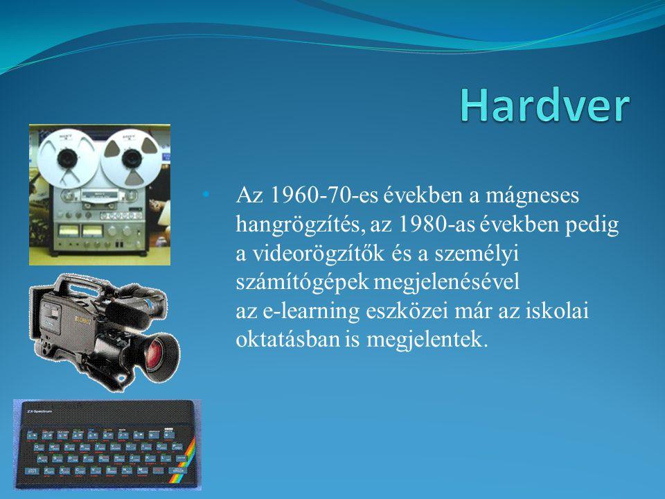 Az 1960-70-es években a mágneses hangrögzítés, az 1980-as években pedig a videorögzítők és a személyi számítógépek megjelenésével az e-learning eszköz