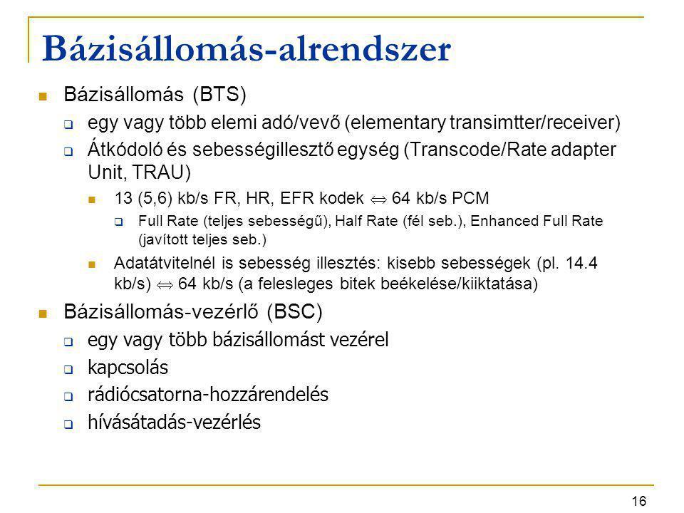 16 Bázisállomás-alrendszer Bázisállomás (BTS)  egy vagy több elemi adó/vevő (elementary transimtter/receiver)  Átkódoló és sebességillesztő egység (