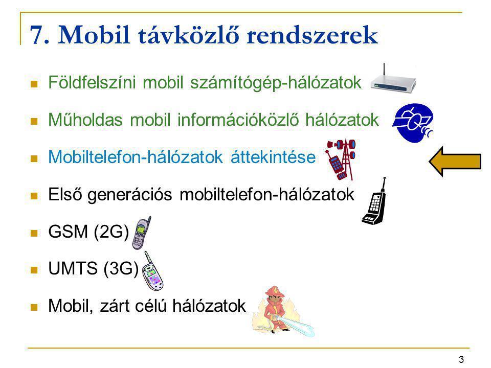 3 7. Mobil távközlő rendszerek Földfelszíni mobil számítógép-hálózatok Műholdas mobil információközlő hálózatok Mobiltelefon-hálózatok áttekintése Els