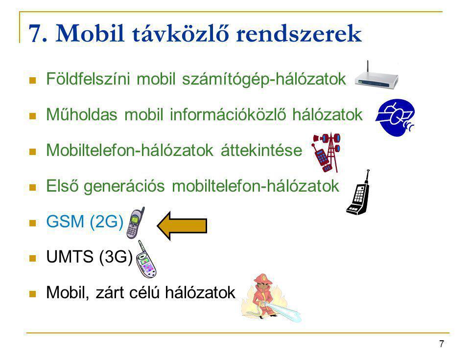 7 7. Mobil távközlő rendszerek Földfelszíni mobil számítógép-hálózatok Műholdas mobil információközlő hálózatok Mobiltelefon-hálózatok áttekintése Els