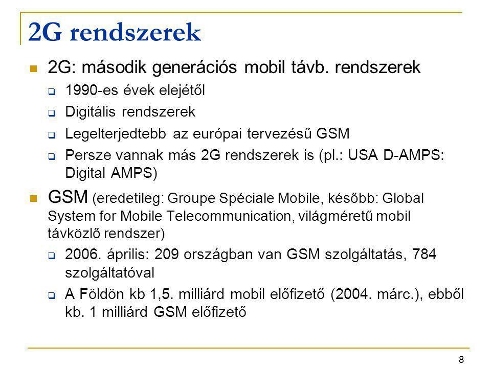 8 2G rendszerek 2G: második generációs mobil távb. rendszerek  1990-es évek elejétől  Digitális rendszerek  Legelterjedtebb az európai tervezésű GS