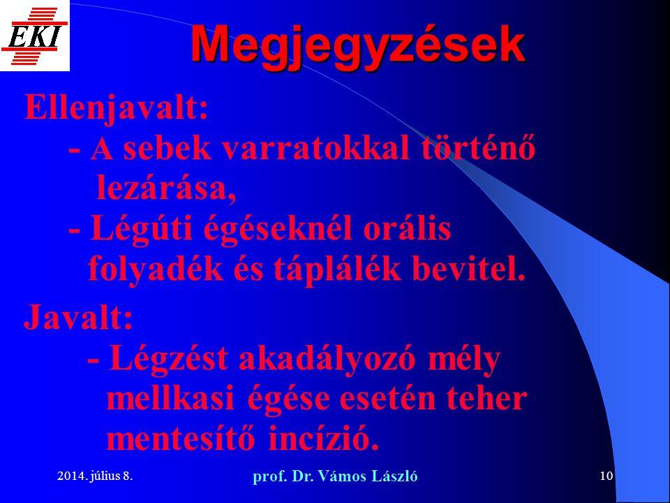 2014. július 8. prof. Dr. Vámos László 10 Megjegyzések Ellenjavalt: - A sebek varratokkal történő lezárása, - Légúti égéseknél orális folyadék és tápl