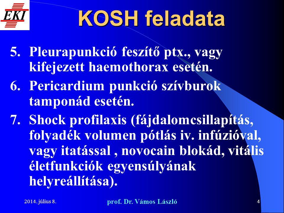 2014. július 8. prof. Dr. Vámos László 4 KOSH feladata 5.Pleurapunkció feszítő ptx., vagy kifejezett haemothorax esetén. 6.Pericardium punkció szívbur