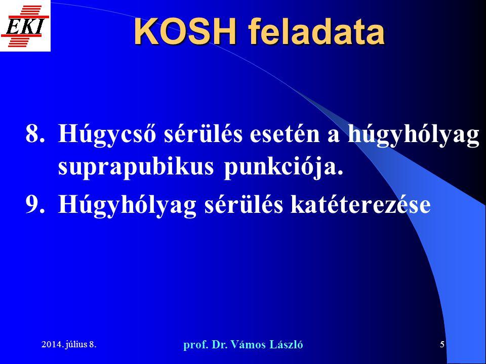 2014. július 8. prof. Dr. Vámos László 5 KOSH feladata 8.Húgycső sérülés esetén a húgyhólyag suprapubikus punkciója. 9.Húgyhólyag sérülés katéterezése