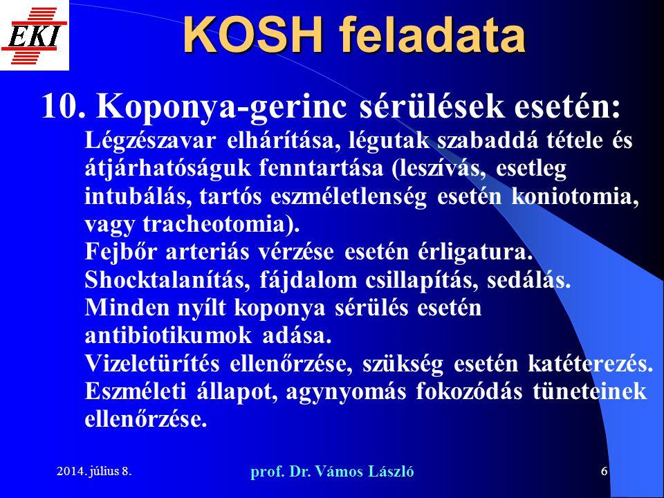 2014. július 8. prof. Dr. Vámos László 6 KOSH feladata 10. Koponya-gerinc sérülések esetén: Légzészavar elhárítása, légutak szabaddá tétele és átjárha