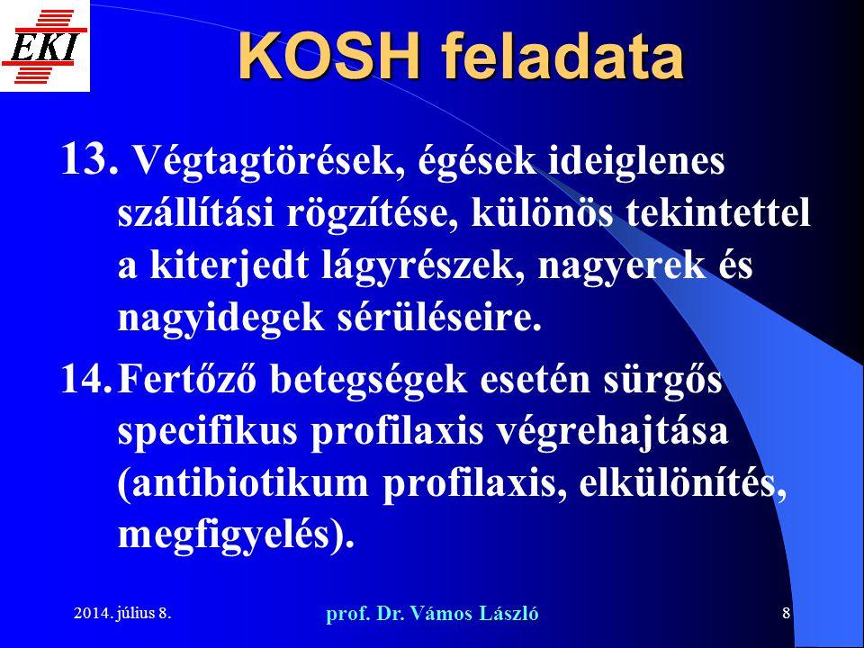 2014. július 8. prof. Dr. Vámos László 8 KOSH feladata 13. Végtagtörések, égések ideiglenes szállítási rögzítése, különös tekintettel a kiterjedt lágy