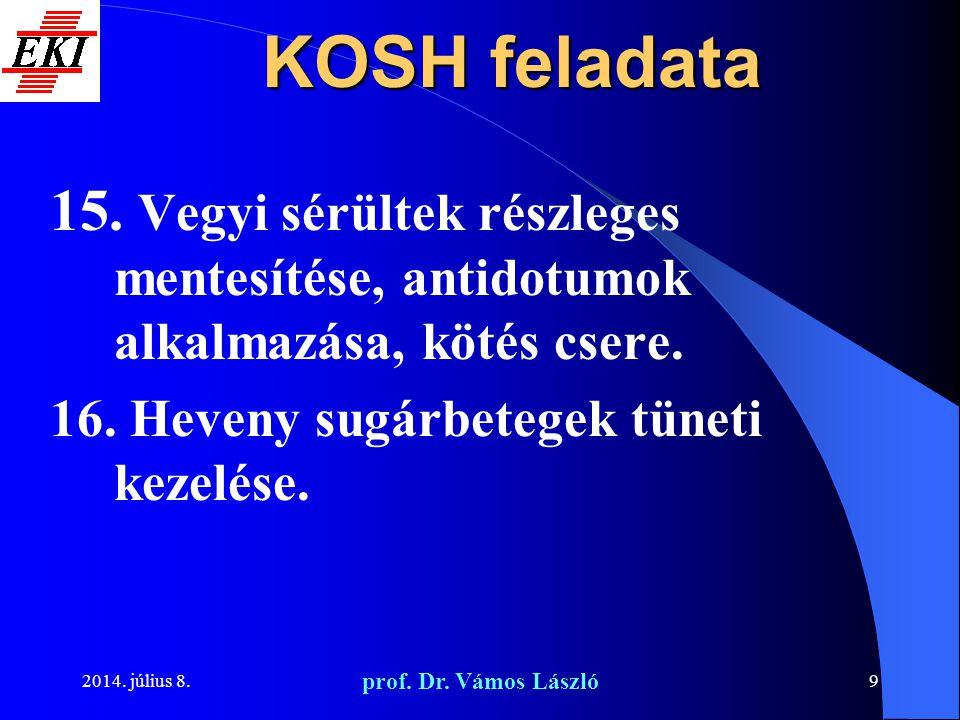 2014. július 8. prof. Dr. Vámos László 9 KOSH feladata 15. Vegyi sérültek részleges mentesítése, antidotumok alkalmazása, kötés csere. 16. Heveny sugá