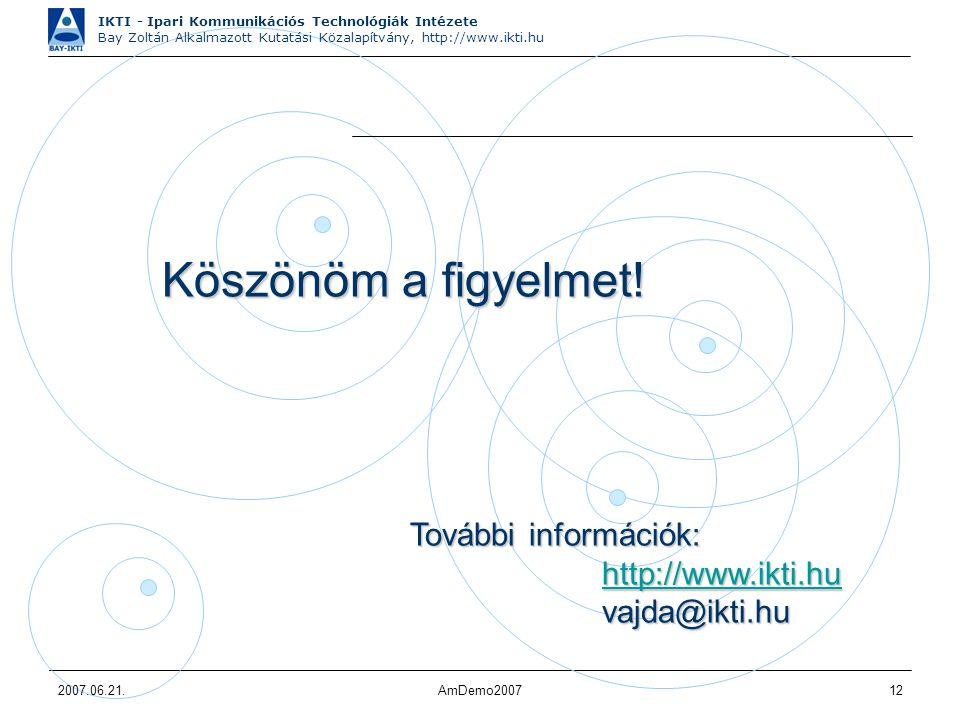 IKTI - Ipari Kommunikációs Technológiák Intézete Bay Zoltán Alkalmazott Kutatási Közalapítvány, http://www.ikti.hu 2007.06.21.AmDemo200712 Köszönöm a