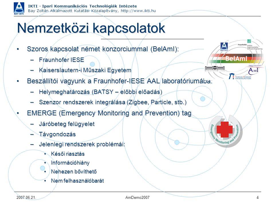 IKTI - Ipari Kommunikációs Technológiák Intézete Bay Zoltán Alkalmazott Kutatási Közalapítvány, http://www.ikti.hu 2007.06.21.AmDemo20075 Alap rendszer - Jövőkép (egészségügy) Internet Szenzorok: Mozgás Mozgás Szívritmus Szívritmus EKG EKG Testhőmérséklet Testhőmérséklet stb.