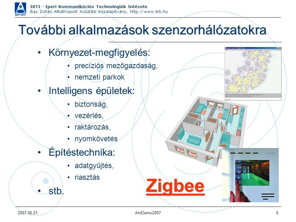 IKTI - Ipari Kommunikációs Technológiák Intézete Bay Zoltán Alkalmazott Kutatási Közalapítvány, http://www.ikti.hu 2007.06.21.AmDemo20076 További alka
