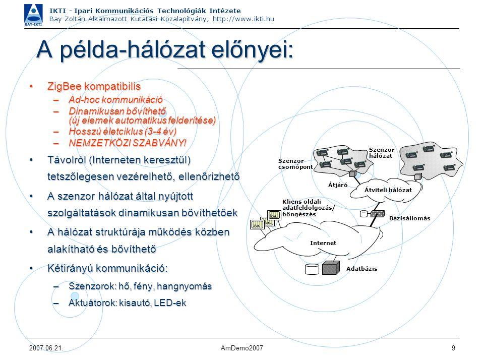 IKTI - Ipari Kommunikációs Technológiák Intézete Bay Zoltán Alkalmazott Kutatási Közalapítvány, http://www.ikti.hu 2007.06.21.AmDemo20079 A példa-hálózat előnyei: A példa-hálózat előnyei: ZigBee kompatibilisZigBee kompatibilis –Ad-hoc kommunikáció –Dinamikusan bővíthető (új elemek automatikus felderítése) –Hosszú életciklus (3-4 év) –NEMZETKÖZI SZABVÁNY.