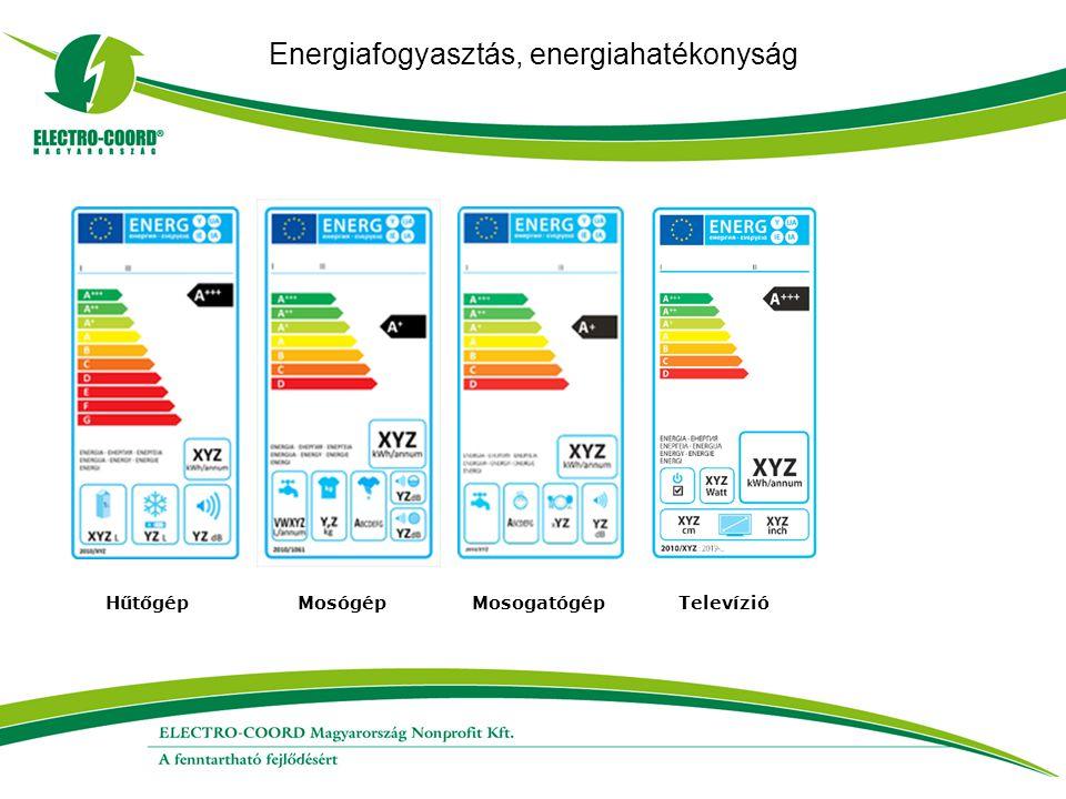 Energiafogyasztás, energiahatékonyság Hűtőgép Mosógép Mosogatógép Televízió
