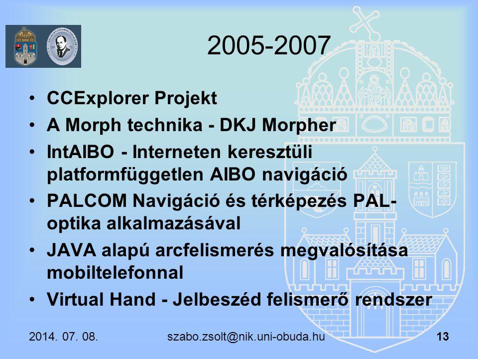 2005-2007 CCExplorer Projekt A Morph technika - DKJ Morpher IntAIBO - Interneten keresztüli platformfüggetlen AIBO navigáció PALCOM Navigáció és térké