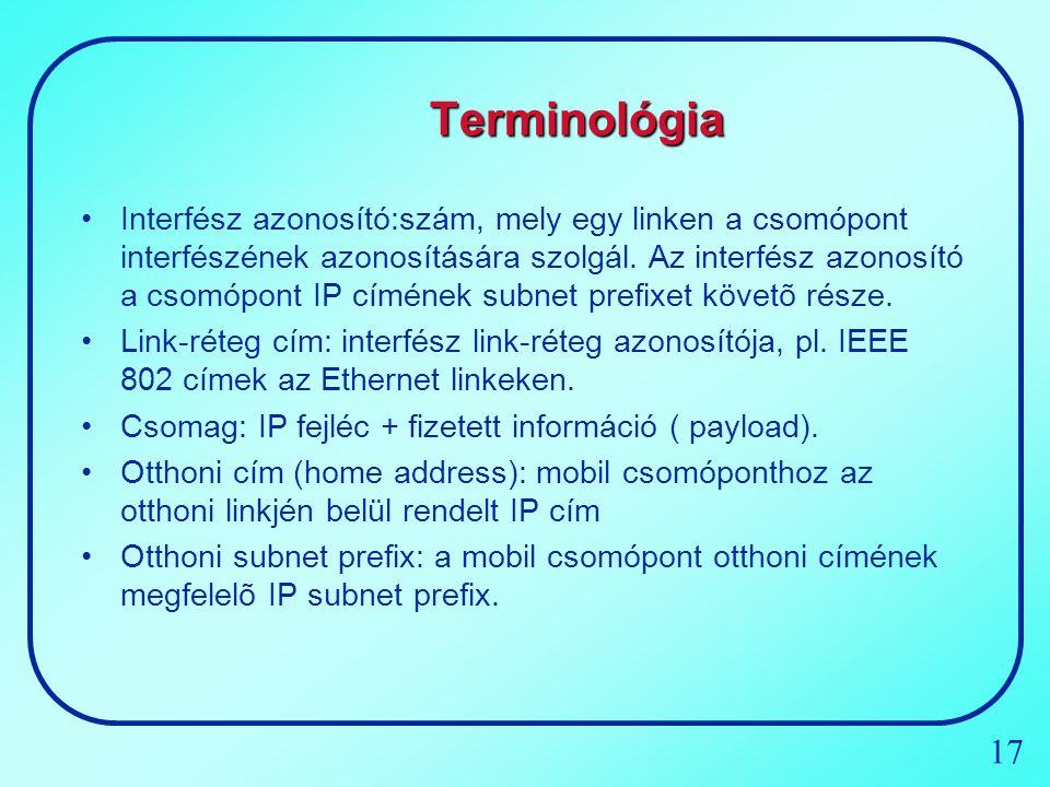 17 Terminológia Interfész azonosító:szám, mely egy linken a csomópont interfészének azonosítására szolgál. Az interfész azonosító a csomópont IP címén