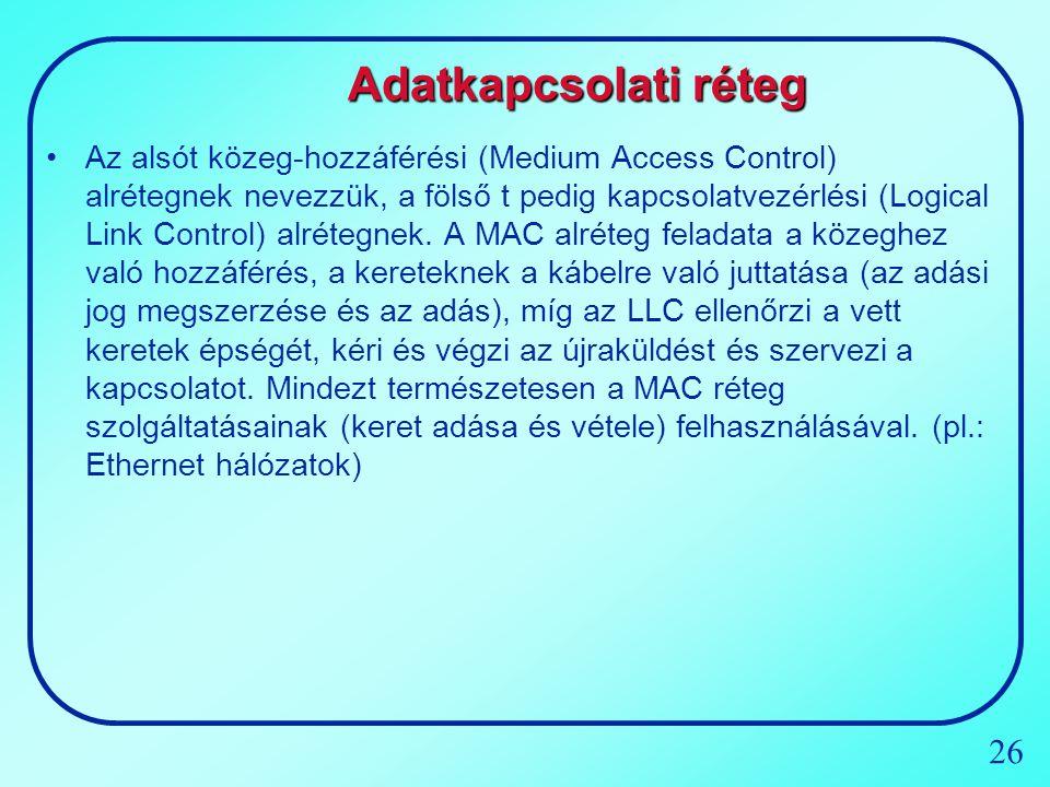 26 Adatkapcsolati réteg Az alsót közeg-hozzáférési (Medium Access Control) alrétegnek nevezzük, a fölső t pedig kapcsolatvezérlési (Logical Link Contr