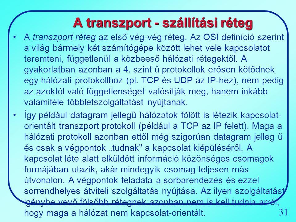 31 A transzport - szállítási réteg A transzport réteg az első vég-vég réteg. Az OSI definíció szerint a világ bármely két számítógépe között lehet vel