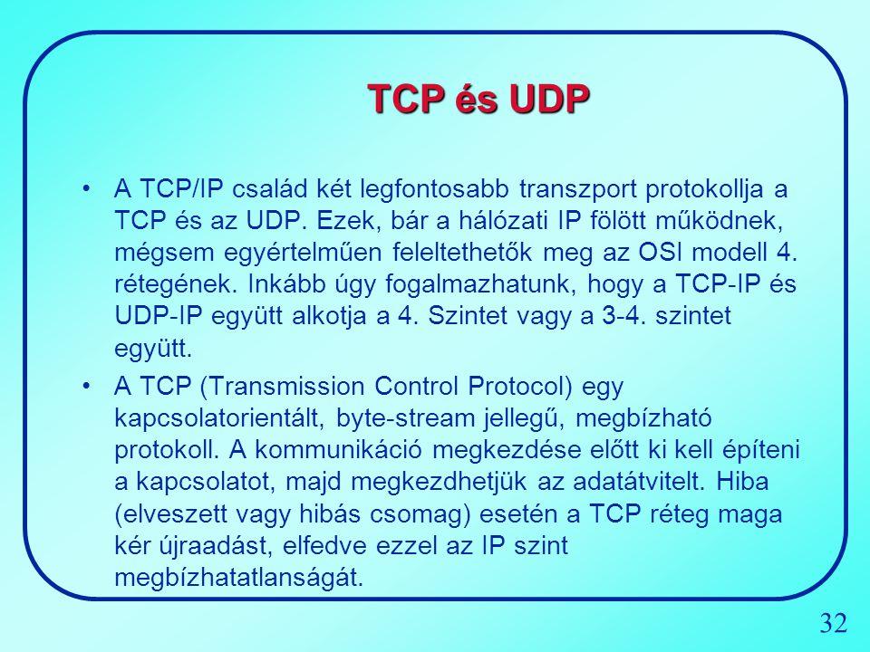 32 TCP és UDP A TCP/IP család két legfontosabb transzport protokollja a TCP és az UDP. Ezek, bár a hálózati IP fölött működnek, mégsem egyértelműen fe
