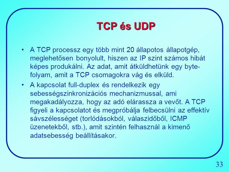 33 TCP és UDP A TCP processz egy több mint 20 állapotos állapotgép, meglehetősen bonyolult, hiszen az IP szint számos hibát képes produkálni. Az adat,