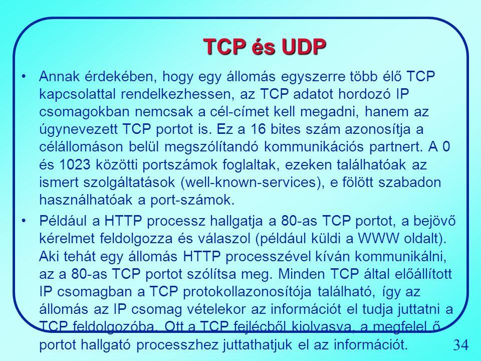 34 TCP és UDP Annak érdekében, hogy egy állomás egyszerre több élő TCP kapcsolattal rendelkezhessen, az TCP adatot hordozó IP csomagokban nemcsak a cé