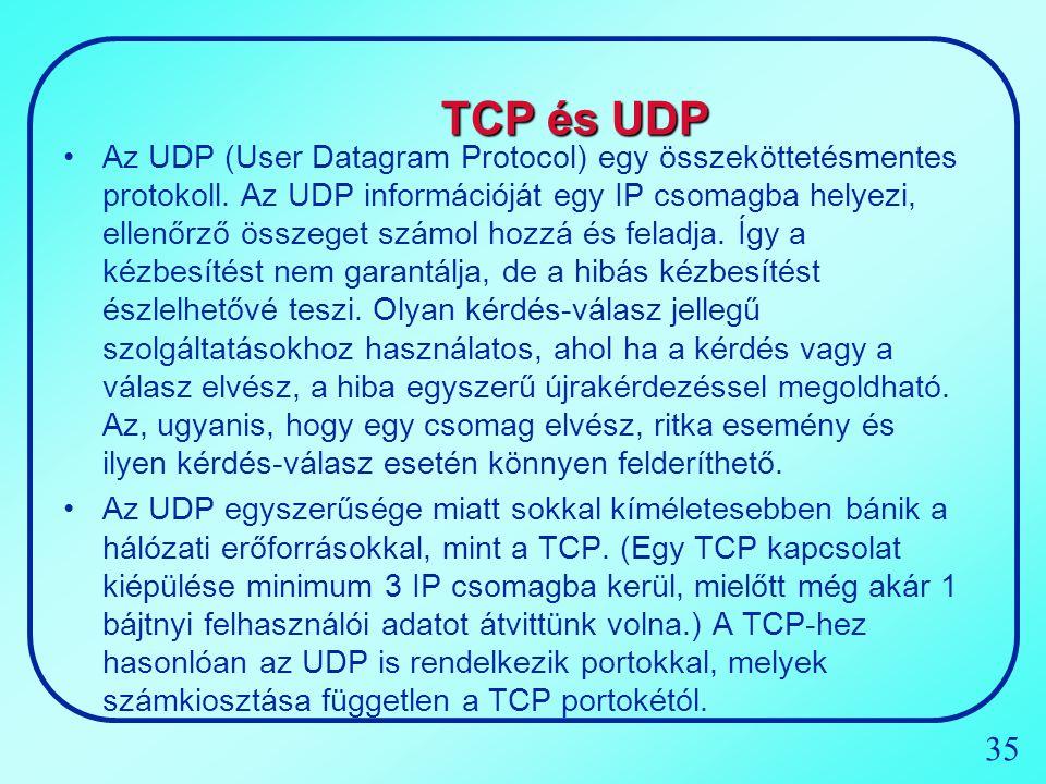 35 TCP és UDP Az UDP (User Datagram Protocol) egy összeköttetésmentes protokoll. Az UDP információját egy IP csomagba helyezi, ellenőrző összeget szám