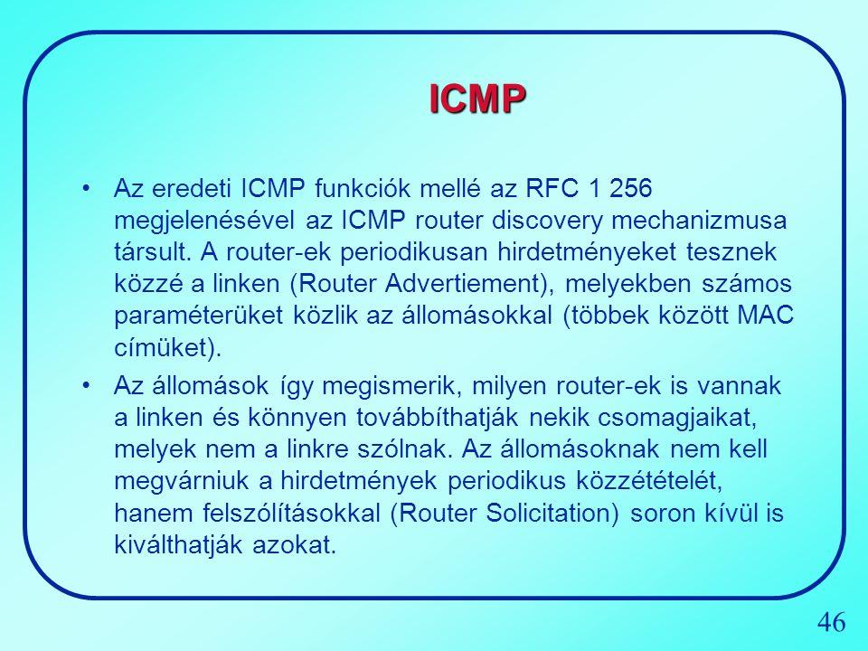 46 ICMP Az eredeti ICMP funkciók mellé az RFC 1 256 megjelenésével az ICMP router discovery mechanizmusa társult. A router-ek periodikusan hirdetménye