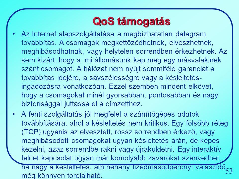 53 QoS támogatás Az Internet alapszolgáltatása a megbízhatatlan datagram továbbítás. A csomagok megkettőződhetnek, elveszhetnek, meghibásodhatnak, vag