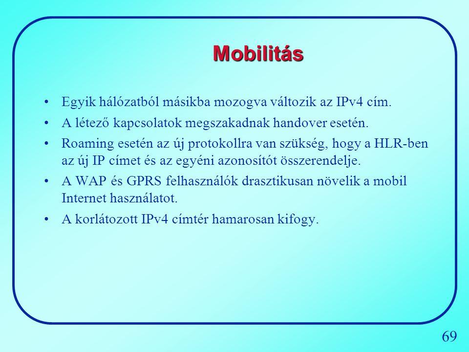 69 Mobilitás Egyik hálózatból másikba mozogva változik az IPv4 cím. A létező kapcsolatok megszakadnak handover esetén. Roaming esetén az új protokollr