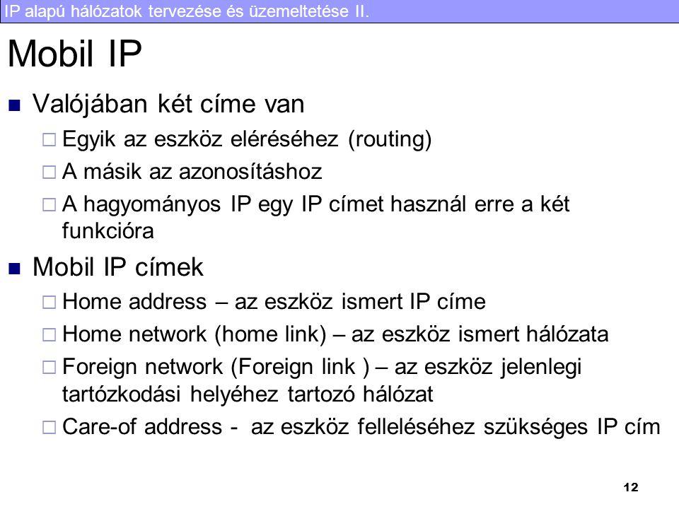 IP alapú hálózatok tervezése és üzemeltetése II. 12 Mobil IP Valójában két címe van  Egyik az eszköz eléréséhez (routing)  A másik az azonosításhoz