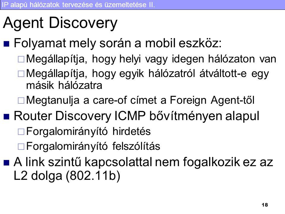 IP alapú hálózatok tervezése és üzemeltetése II. 18 Agent Discovery Folyamat mely során a mobil eszköz:  Megállapítja, hogy helyi vagy idegen hálózat