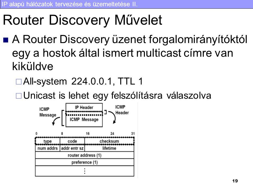IP alapú hálózatok tervezése és üzemeltetése II. 19 Router Discovery Művelet A Router Discovery üzenet forgalomirányítóktól egy a hostok által ismert