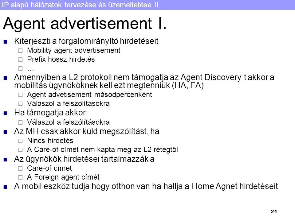 IP alapú hálózatok tervezése és üzemeltetése II. 21 Agent advertisement I. Kiterjeszti a forgalomirányító hirdetéseit  Mobility agent advertisement 