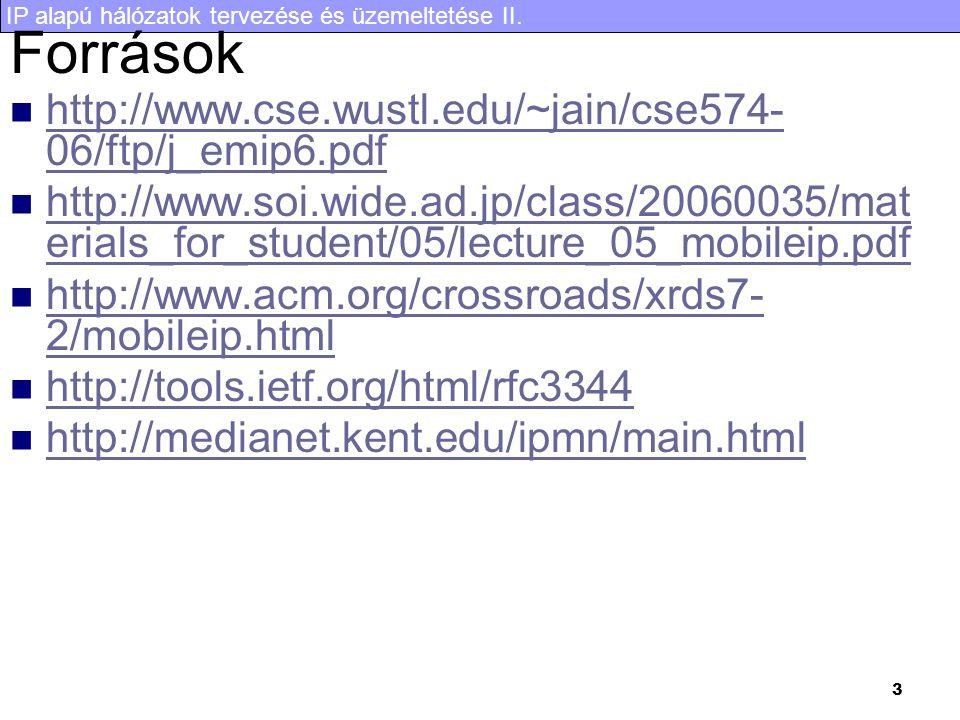 IP alapú hálózatok tervezése és üzemeltetése II. 3 Források http://www.cse.wustl.edu/~jain/cse574- 06/ftp/j_emip6.pdf http://www.cse.wustl.edu/~jain/c
