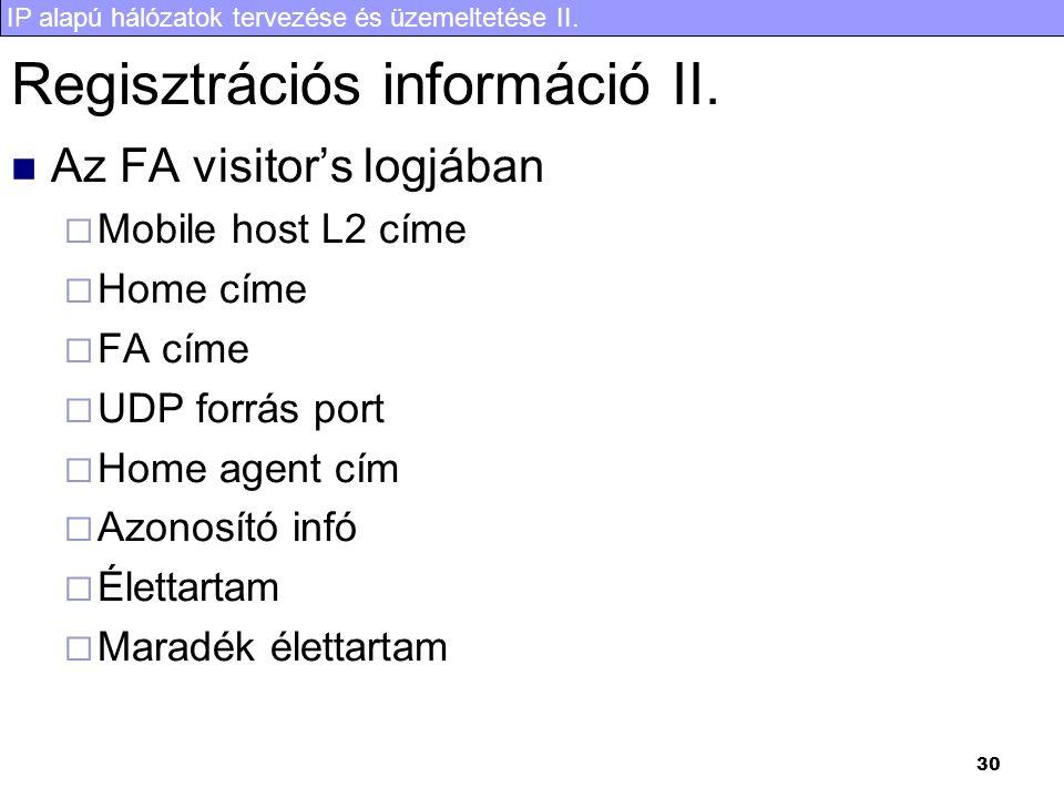 IP alapú hálózatok tervezése és üzemeltetése II. 30 Regisztrációs információ II. Az FA visitor's logjában  Mobile host L2 címe  Home címe  FA címe