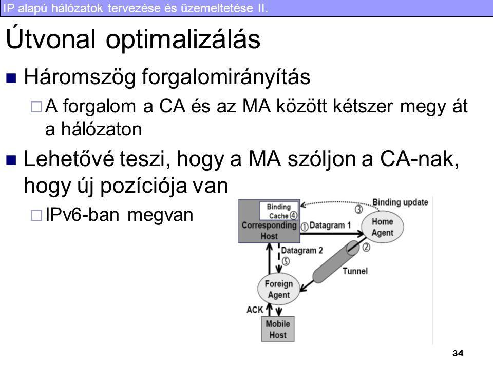 IP alapú hálózatok tervezése és üzemeltetése II. 34 Útvonal optimalizálás Háromszög forgalomirányítás  A forgalom a CA és az MA között kétszer megy á