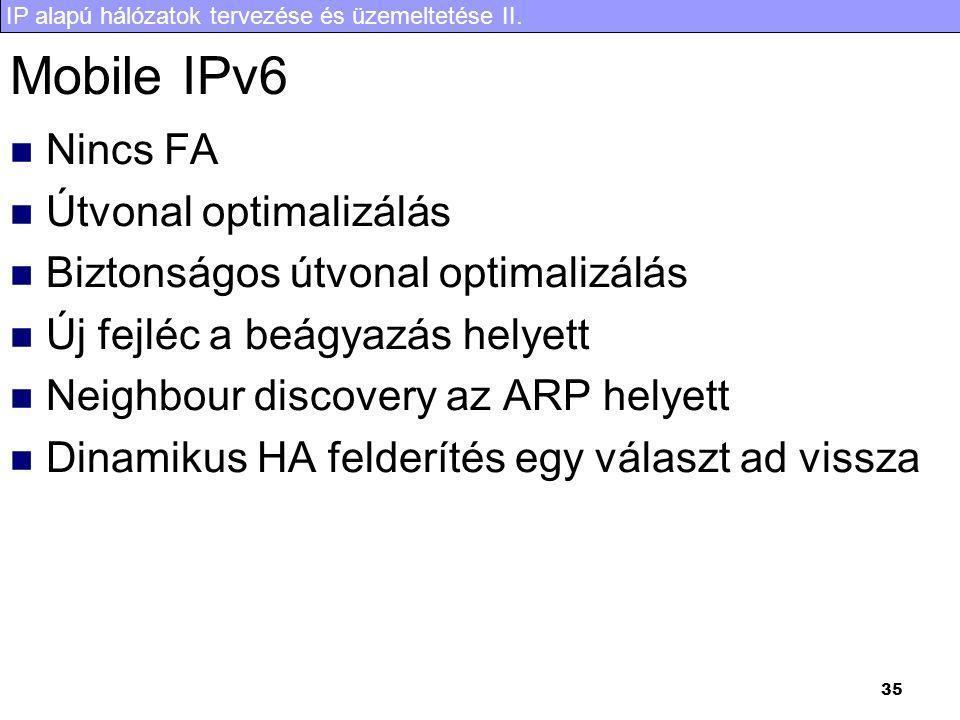 IP alapú hálózatok tervezése és üzemeltetése II. 35 Mobile IPv6 Nincs FA Útvonal optimalizálás Biztonságos útvonal optimalizálás Új fejléc a beágyazás